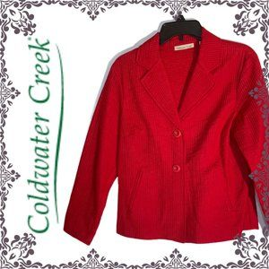 New Coldwater Creek Red Channel Quilted Jacket 10